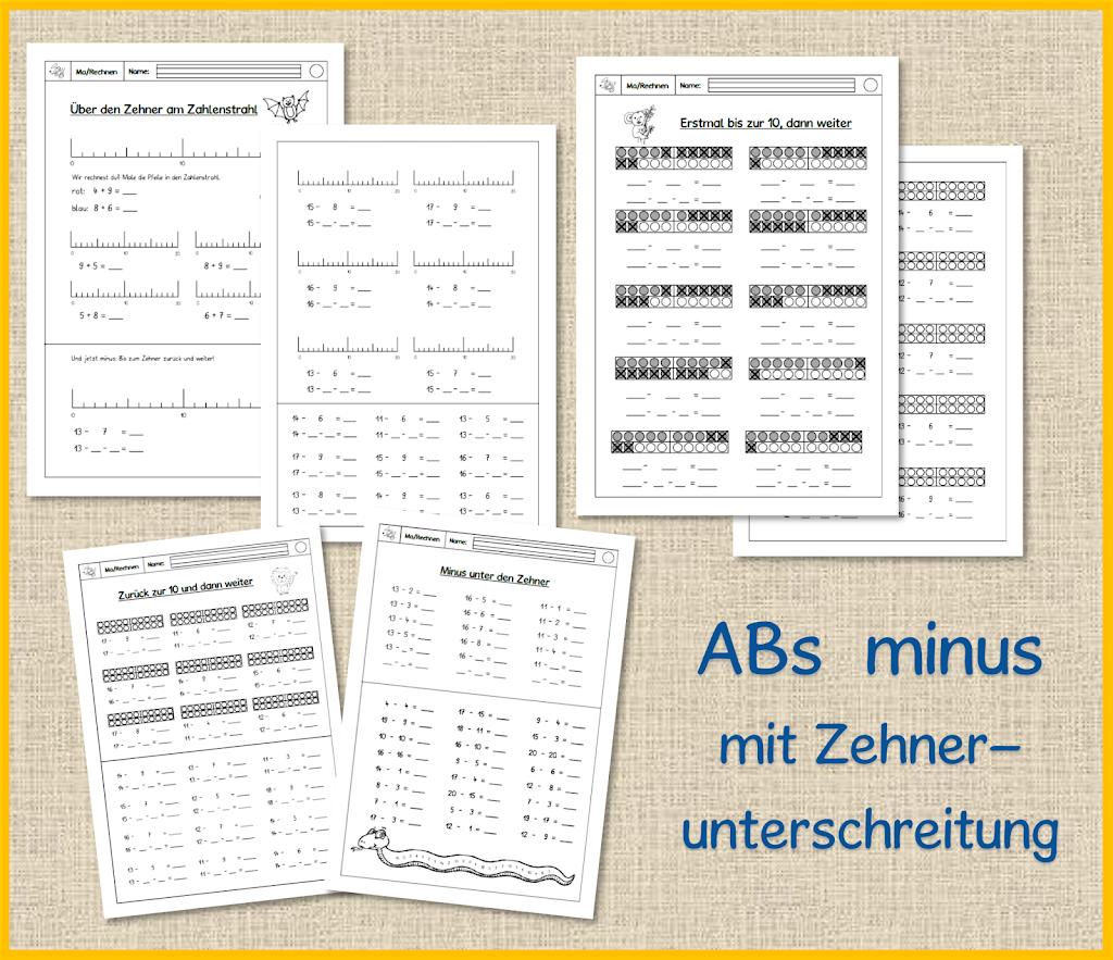 1. Klasse ABs - minus mit Zehnerunterschreitung - Frau Locke