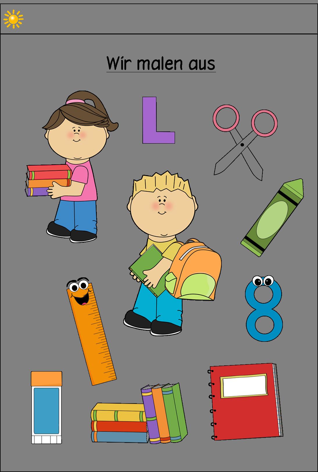 Vorkurs - Ausmalbild Schulsachen - Frau Locke