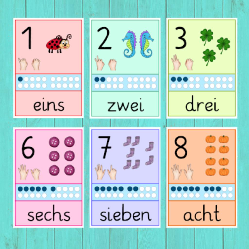 Zahlkarten DAZ / mit Zahlwörtern   Frau Locke