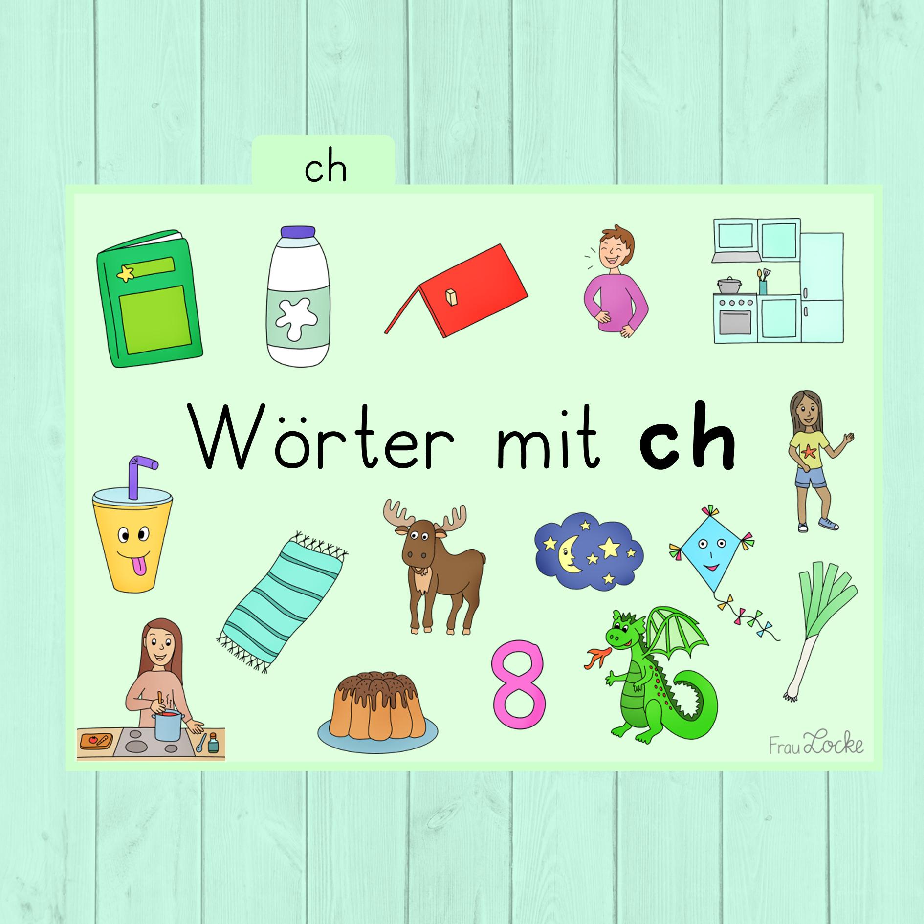 Bildkarten   Wörter mit ch   Frau Locke