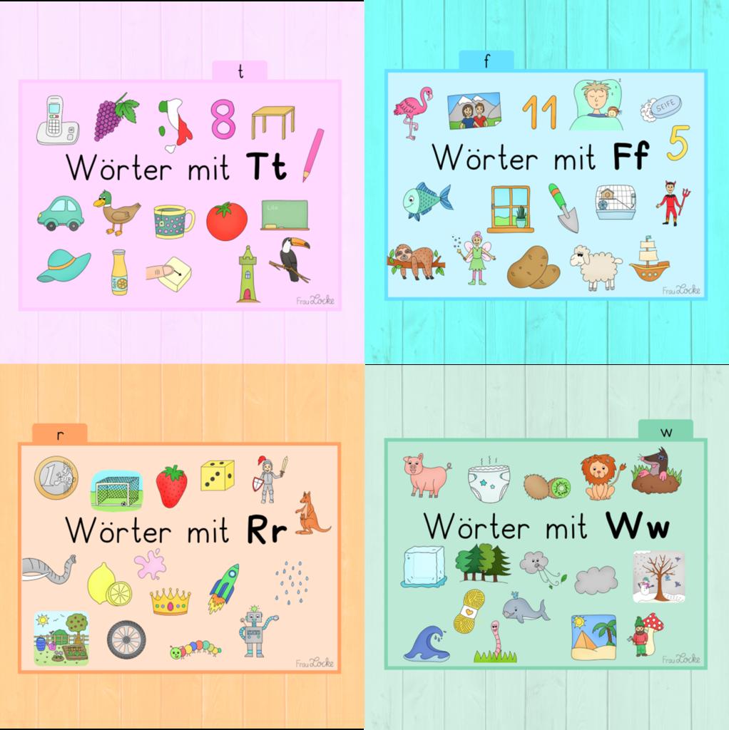 Bildkarten zu R, F, W und T   Frau Locke